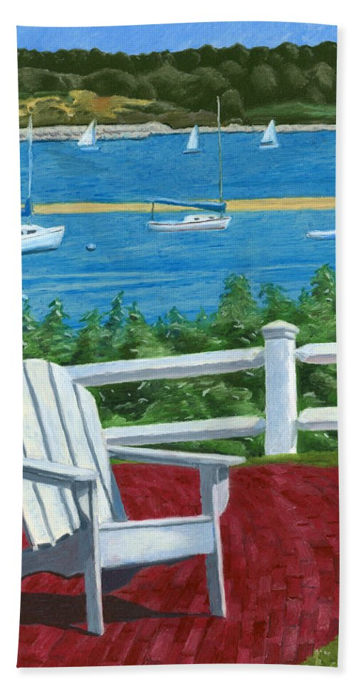 Adirondack Chair Beach Towel featuring the drawing Adirondack Chair On Cape Cod by Dominic White