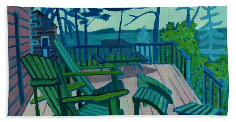 Ocean Beach Towel featuring the painting Adirondack Chairs Maine by Debra Bretton Robinson