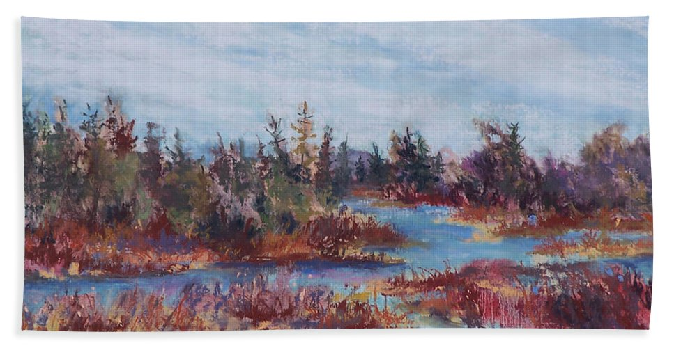 Old Forge Beach Towel featuring the pastel Adirondak Concerto by Alicia Drakiotes