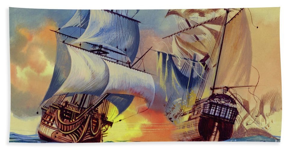 History Beach Towel featuring the painting Admiral Hood's Fleet In The West Indies by Ron Embleton