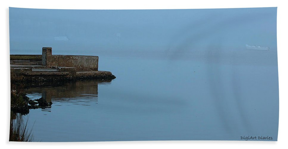 Dock Beach Towel featuring the digital art Adrift In The Fog by DigiArt Diaries by Vicky B Fuller