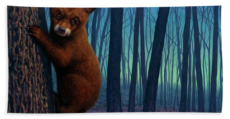 Bear Beach Towel featuring the painting Adventurer by James W Johnson