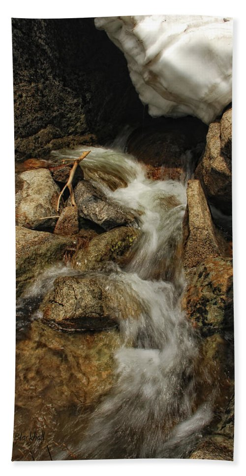 Waterfall Beach Towel featuring the photograph Adventures Of Stickman by Donna Blackhall