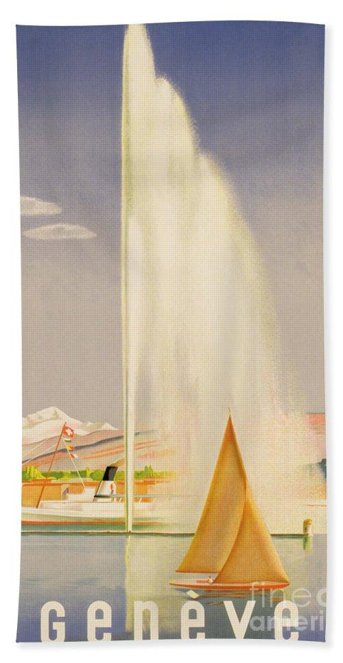 Advertisement For Travel To Geneva Beach Towel featuring the painting Advertisement For Travel To Geneva by Fehr