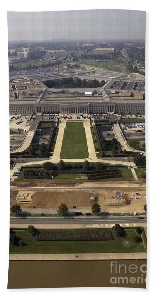 Building Beach Towel featuring the photograph Aerial Photograph Of The Pentagon by Stocktrek Images