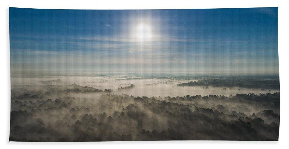 Louisiana Beach Towel featuring the photograph Aerial Sunrise Over Fog by Kimberly Blom-Roemer