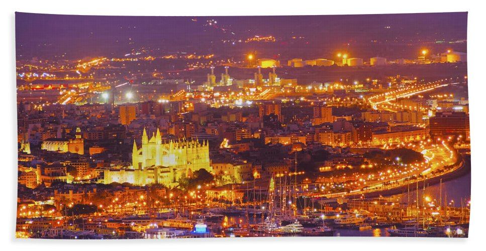 Horizontal Beach Towel featuring the photograph Aerial View Of Palma Of Majorca by Karol Kozlowski