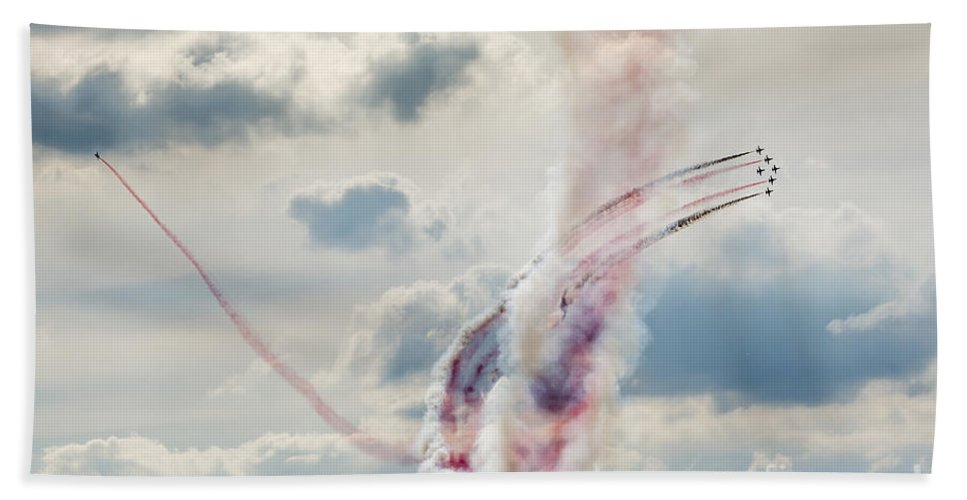 Accuracy Beach Towel featuring the photograph Aerobatic Group Formation At Blue Sky by Mariusz Prusaczyk