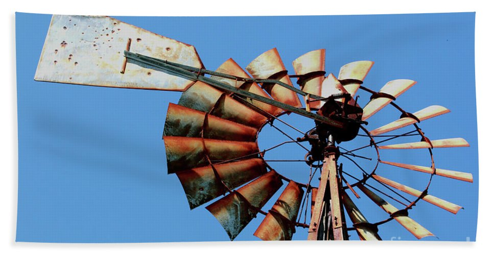 Agriculture Beach Towel featuring the photograph Aeromotor In Color by Alan Look