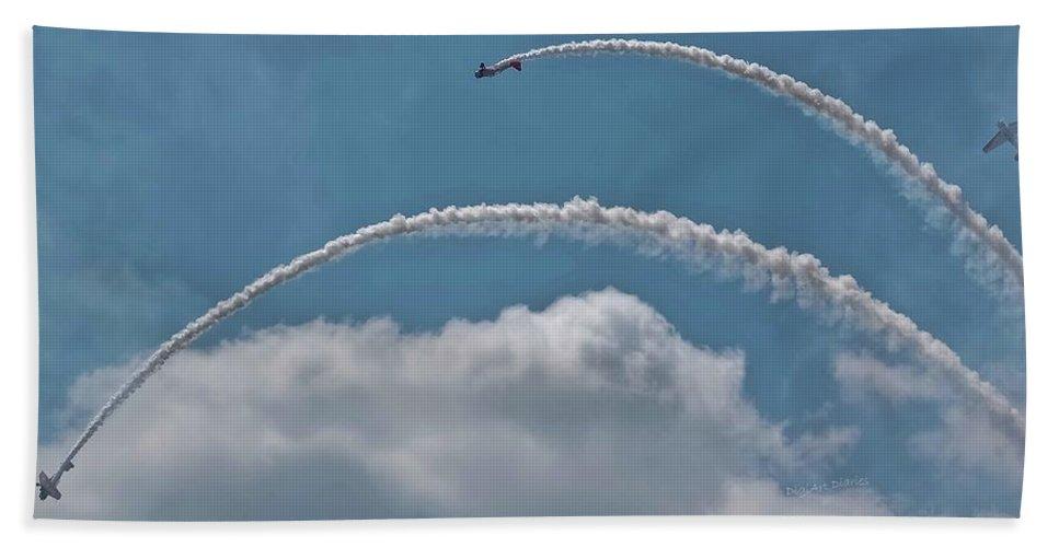 Aeroshell Beach Towel featuring the photograph Aeroshell Aerobatics by DigiArt Diaries by Vicky B Fuller