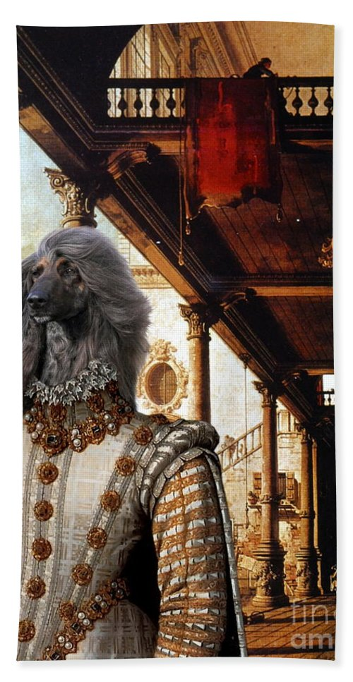 Afghan Hound Canvas Beach Towel featuring the painting Afghan Hound-capriccio Of Colonade And The Courtyard Of A Palace Canvas Fine Art Print by Sandra Sij