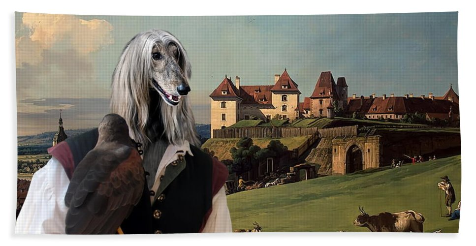 Afghan Hound Canvas Beach Towel featuring the painting Afghan Hound-falconer And Castle Canvas Fine Art Print by Sandra Sij