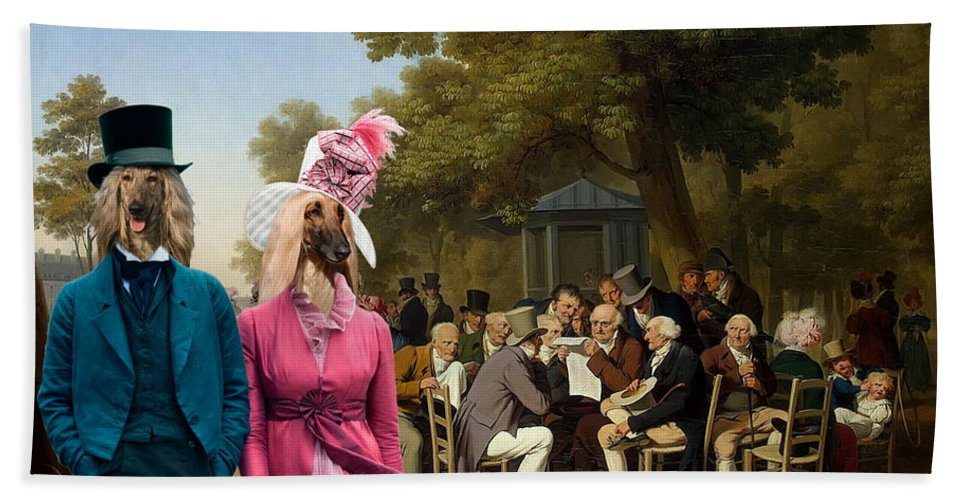 Afghan Hound Canvas Beach Towel featuring the painting Afghan Hound-politicians In The Tuileries Gardens Canvas Fine Art Print by Sandra Sij