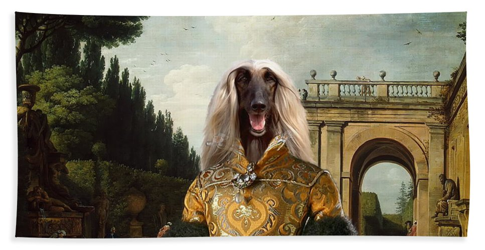 Afghan Hound Canvas Beach Towel featuring the painting Afghan Hound-the Afternoon Promenade In Rome Canvas Fine Art Print by Sandra Sij