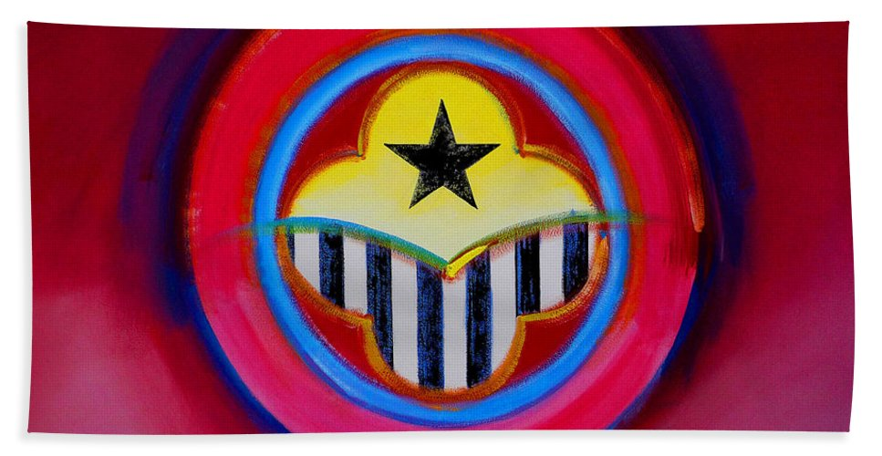 Button Beach Towel featuring the painting African American by Charles Stuart