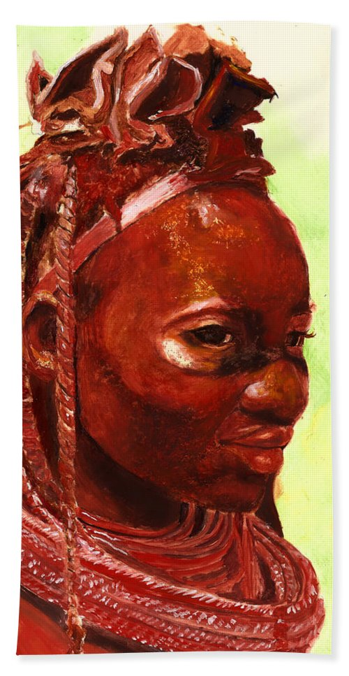 People Portrait Beach Towel featuring the painting African Beauty by Portraits By NC
