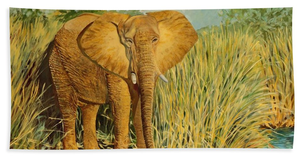Elephant Beach Towel featuring the painting African Elephant by Caroline Street