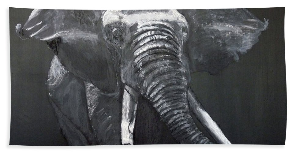 Elephant Beach Towel featuring the painting African Elephant by Richard Le Page