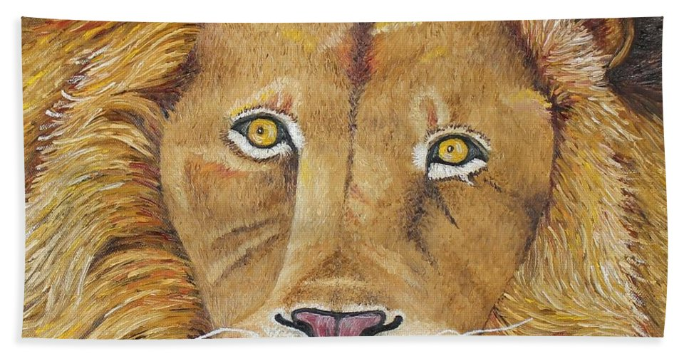 Lion Beach Towel featuring the photograph African Lion by Karen Desrosiers