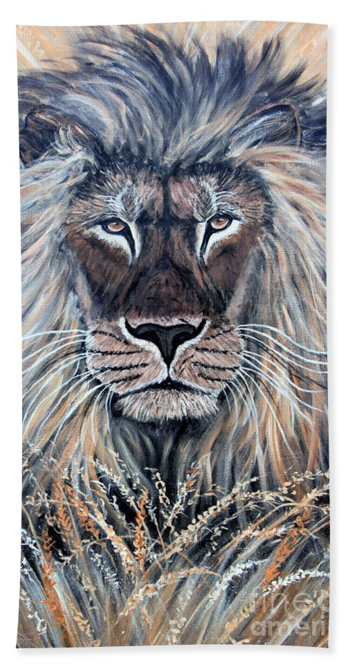 Lion Beach Towel featuring the painting African Lion by Nick Gustafson