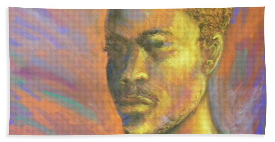 African Beach Towel featuring the pastel African Man by Jan Gilmore