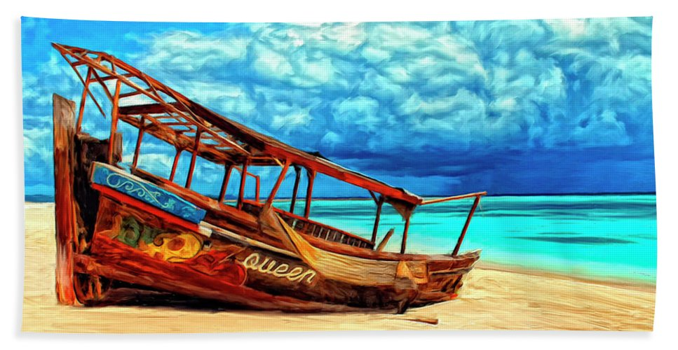African Queen Beach Towel featuring the painting African Queen by Dominic Piperata