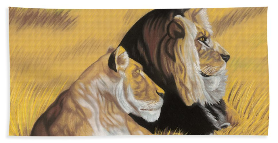 Paintings Beach Towel featuring the pastel African Royalty by Lana Tyler