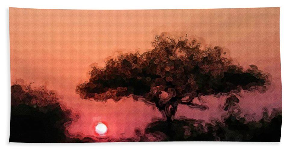 Digital Photography Beach Towel featuring the photograph African Sunset by David Lane