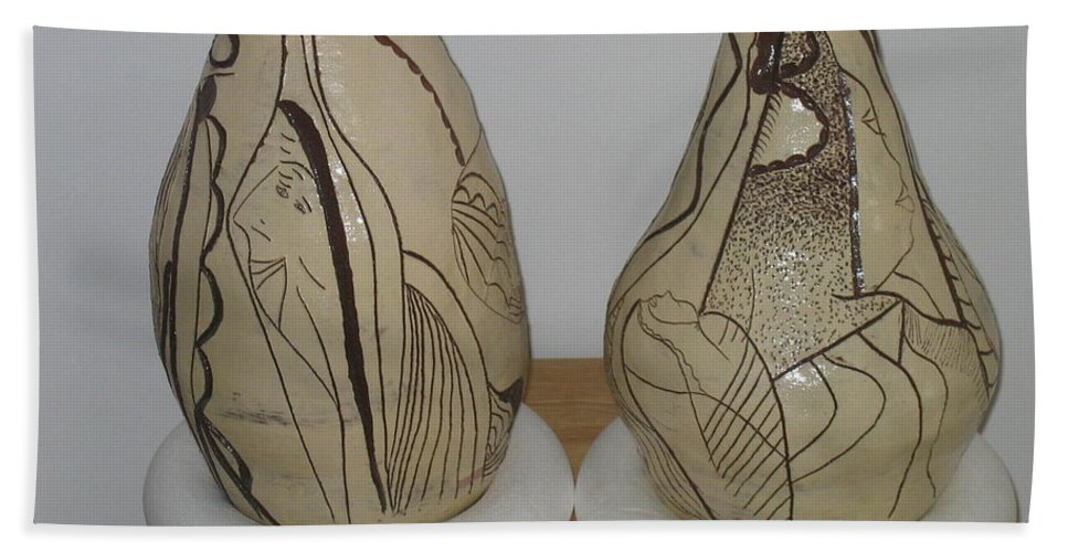 Jesus Beach Towel featuring the ceramic art African Terracotta Goulds - View One by Gloria Ssali