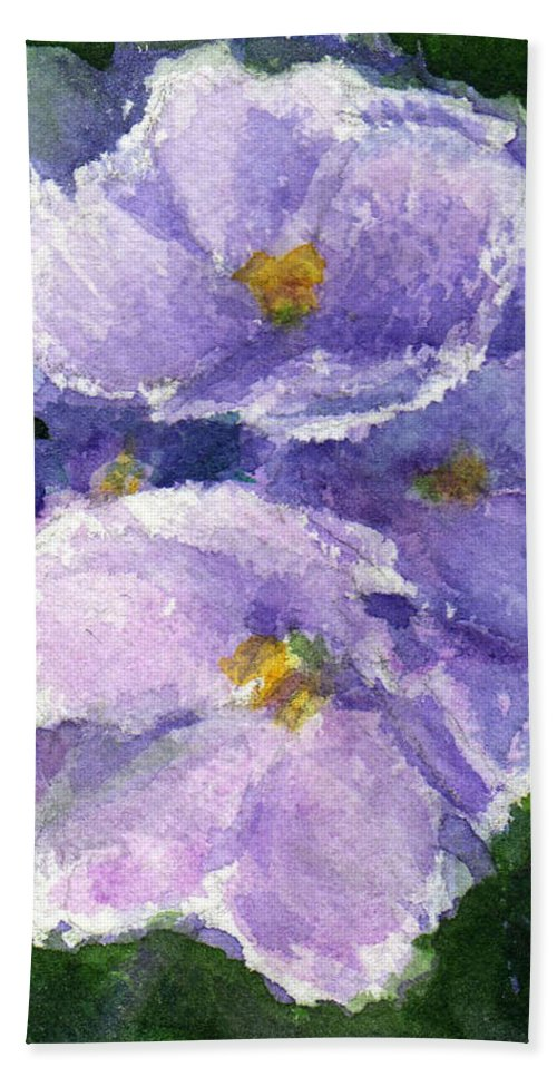 African Violet Beach Towel featuring the painting African Violet by Katherine Berlin