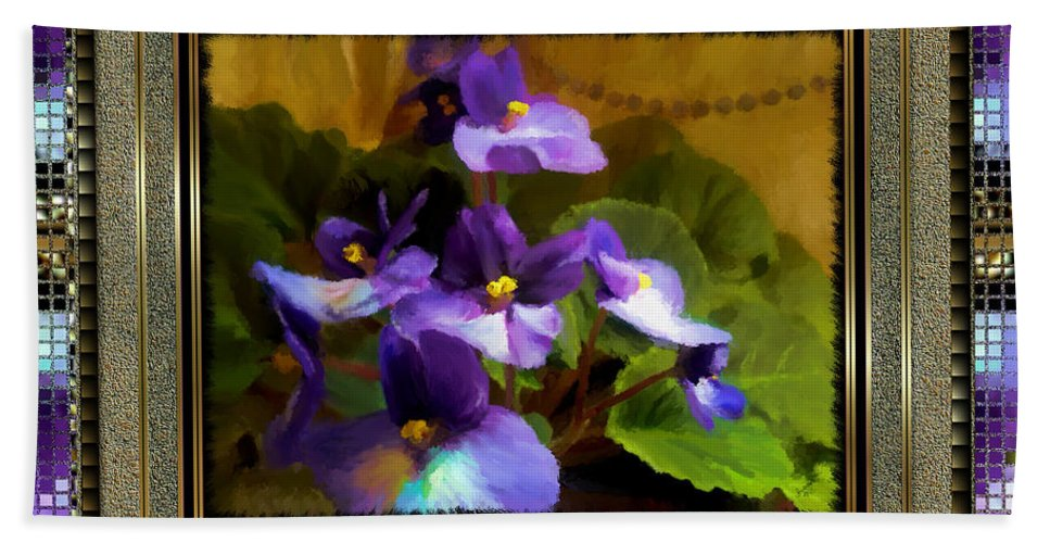 African Violet Beach Towel featuring the painting African Violet by Susan Kinney