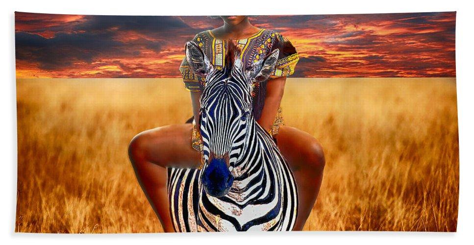 African Art Beach Towel featuring the photograph Afrikkan Princess by Damali Conceptuals