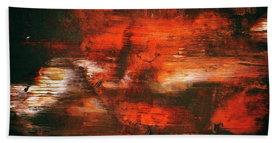 After Midnight Black Orange And White Contemporary Abstract Art Beach Towel