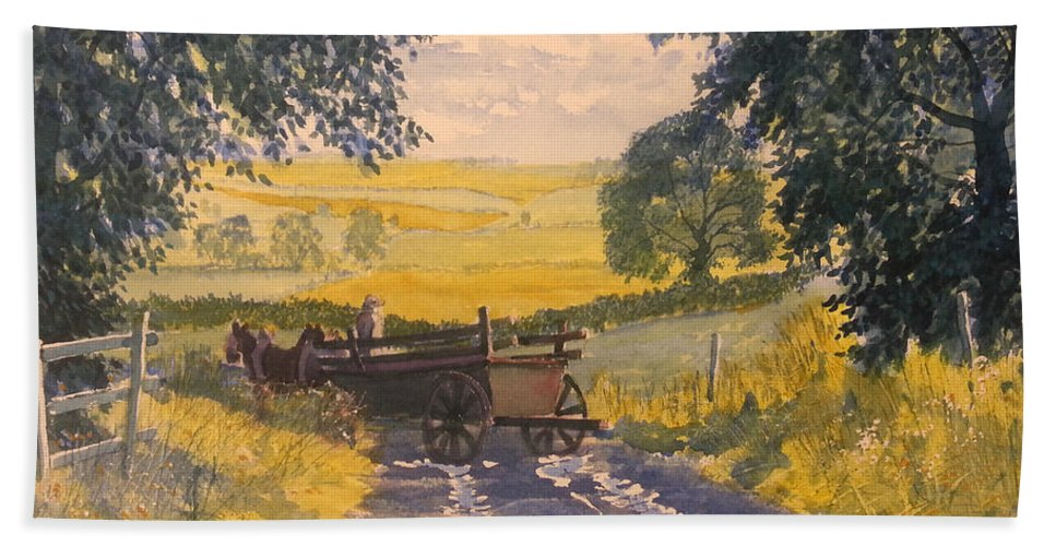 Glenn Marshall Yorkshire Artist Beach Towel featuring the painting After Rain On The Wolds Way by Glenn Marshall