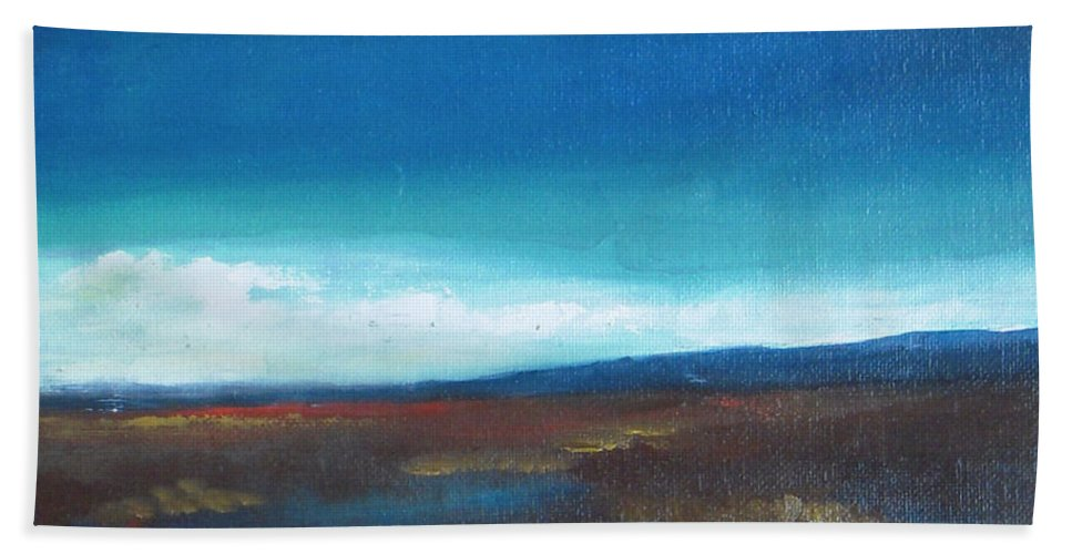 Landscape Beach Towel featuring the painting After Rain by Vesna Antic