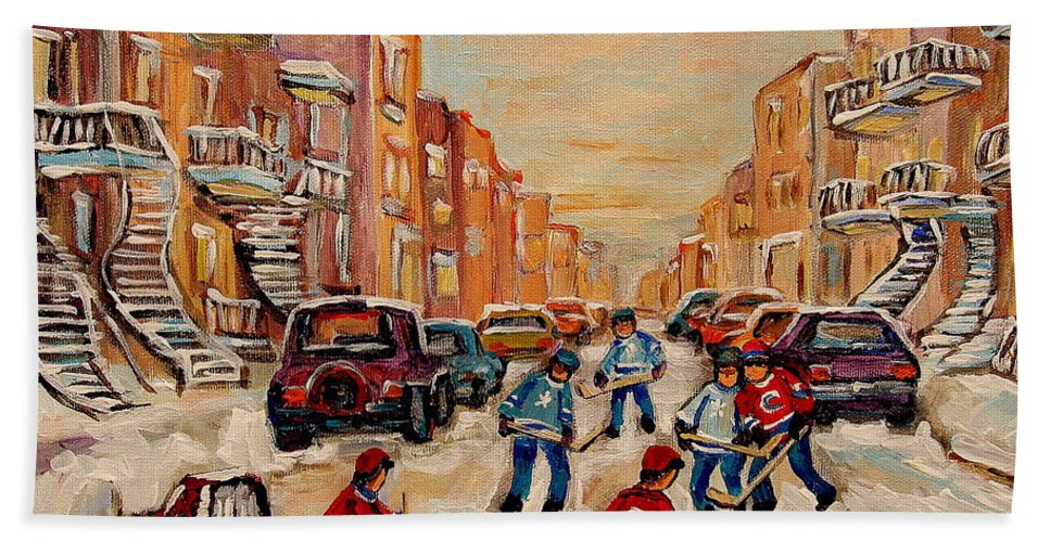 After School Hockey Game Beach Towel featuring the painting After School Hockey Game by Carole Spandau