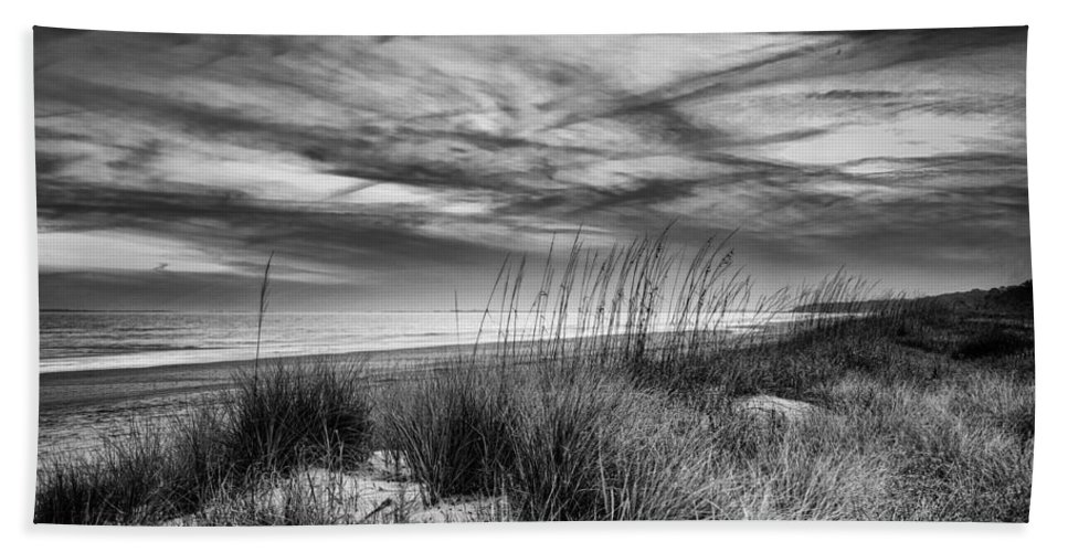 Beach Beach Towel featuring the digital art After Sunset In B And W by Phill Doherty