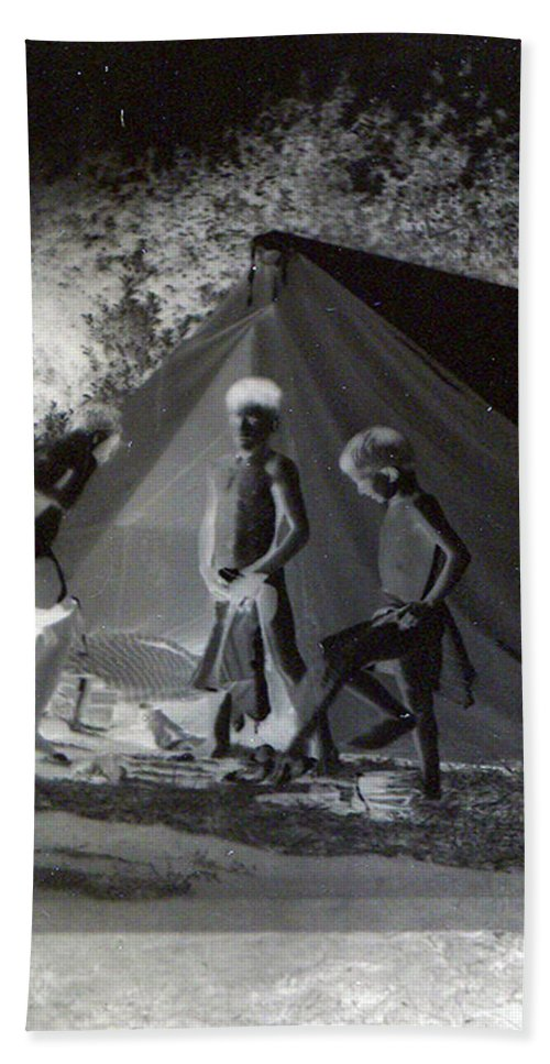 Boys Swimming Camping Tent Nature Clothes Classic 1950s Beach Towel featuring the photograph After Swimming by Andrea Lawrence