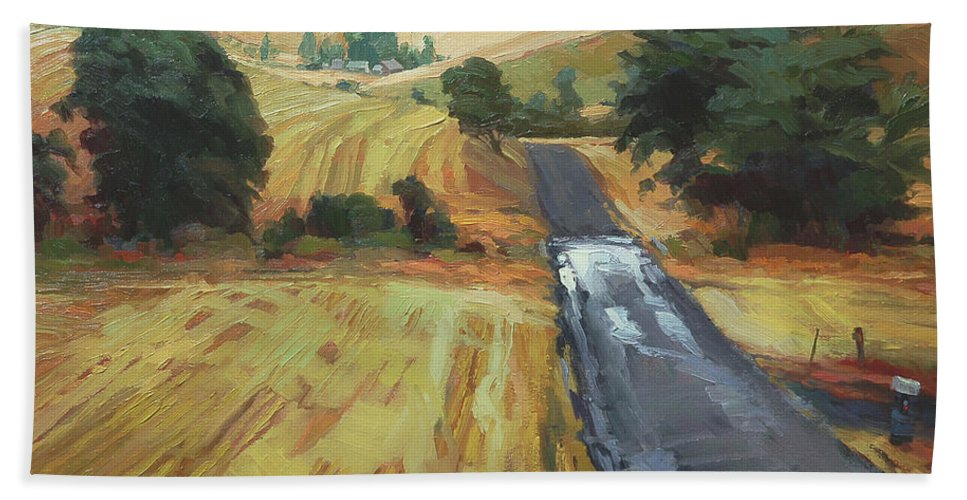 Country Beach Towel featuring the painting After The Harvest Rain by Steve Henderson