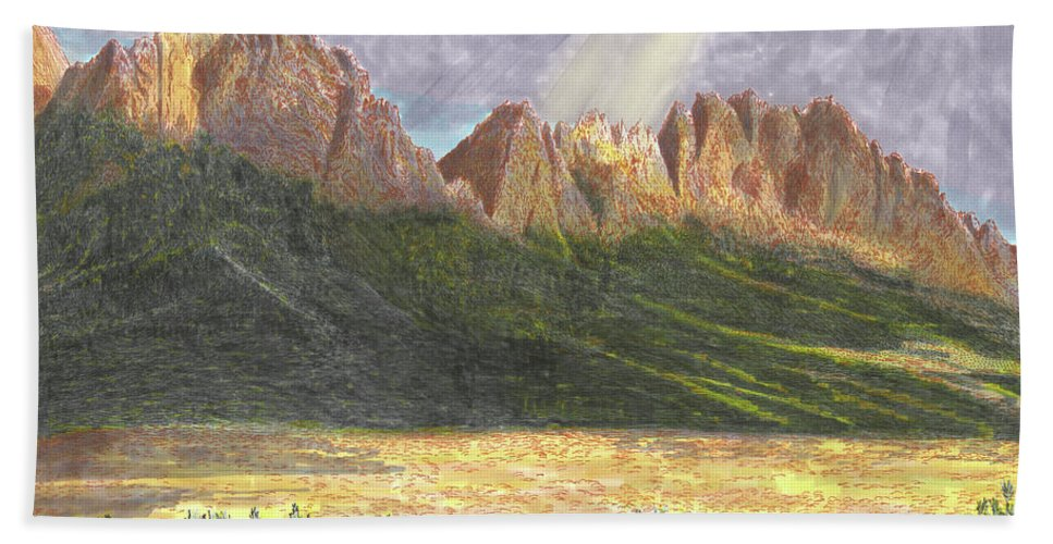 Jacks Watercolor Painting Of The Organ Mountains After A Heavy Rain Beach Towel featuring the painting After The Monsoon Organ Mountains by Jack Pumphrey
