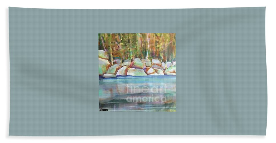 Landscape Beach Towel featuring the painting After The Rain by Karen Sloan