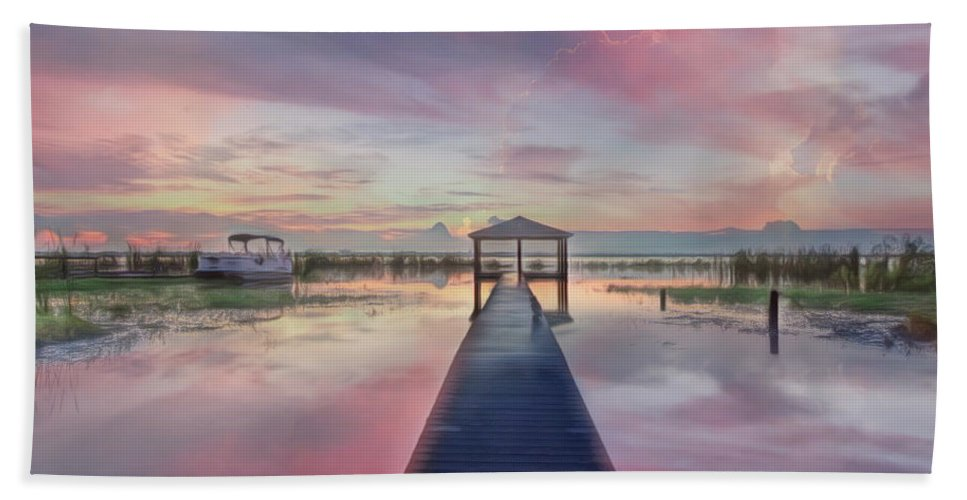 Boats Beach Towel featuring the photograph After The Rain Sunrise Painting by Debra and Dave Vanderlaan