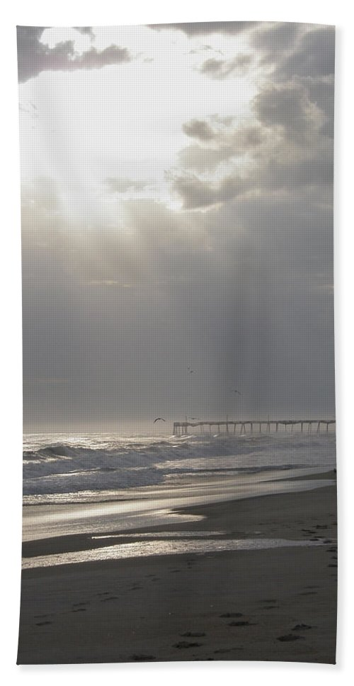 Light Beach Towel featuring the photograph After The Storm - Frisco Pier - Outer Banks Nc by Mother Nature