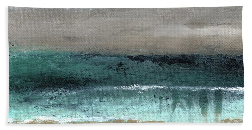 Beach Beach Towel featuring the mixed media After The Storm 2- Abstract Beach Landscape by Linda Woods by Linda Woods