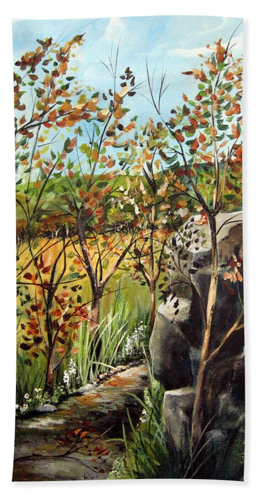 Beach Towel featuring the painting Afternoon Stroll by Ruth Palmer