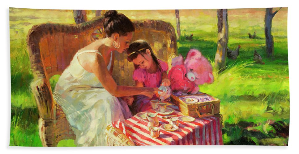 Tea Beach Towel featuring the painting Afternoon Tea Party by Steve Henderson