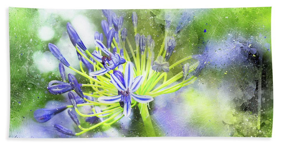 Abstract Beach Towel featuring the photograph Agapanthus Perfection by Kay Brewer