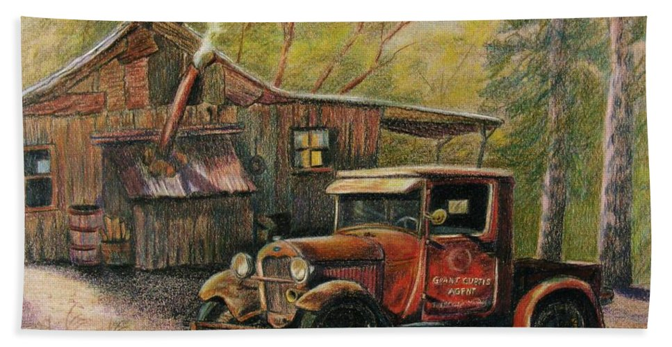 Old Trucks Beach Towel featuring the drawing Agent's Visit by Marilyn Smith