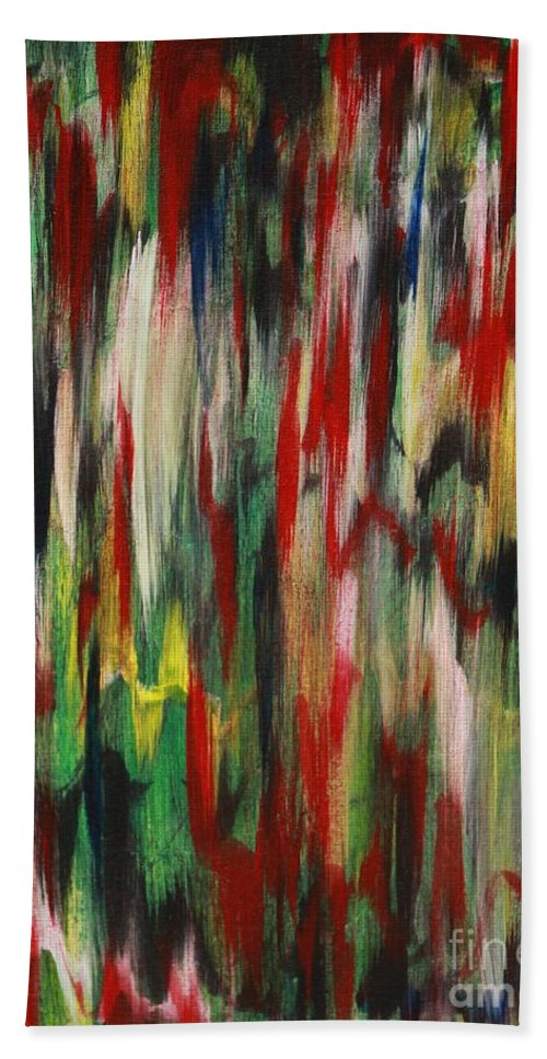 Abstract Beach Towel featuring the painting Agony by Jacqueline Athmann