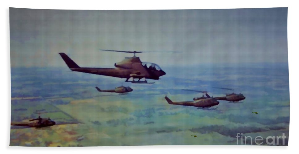 Us Army Beach Towel featuring the digital art Air Cav by Tommy Anderson